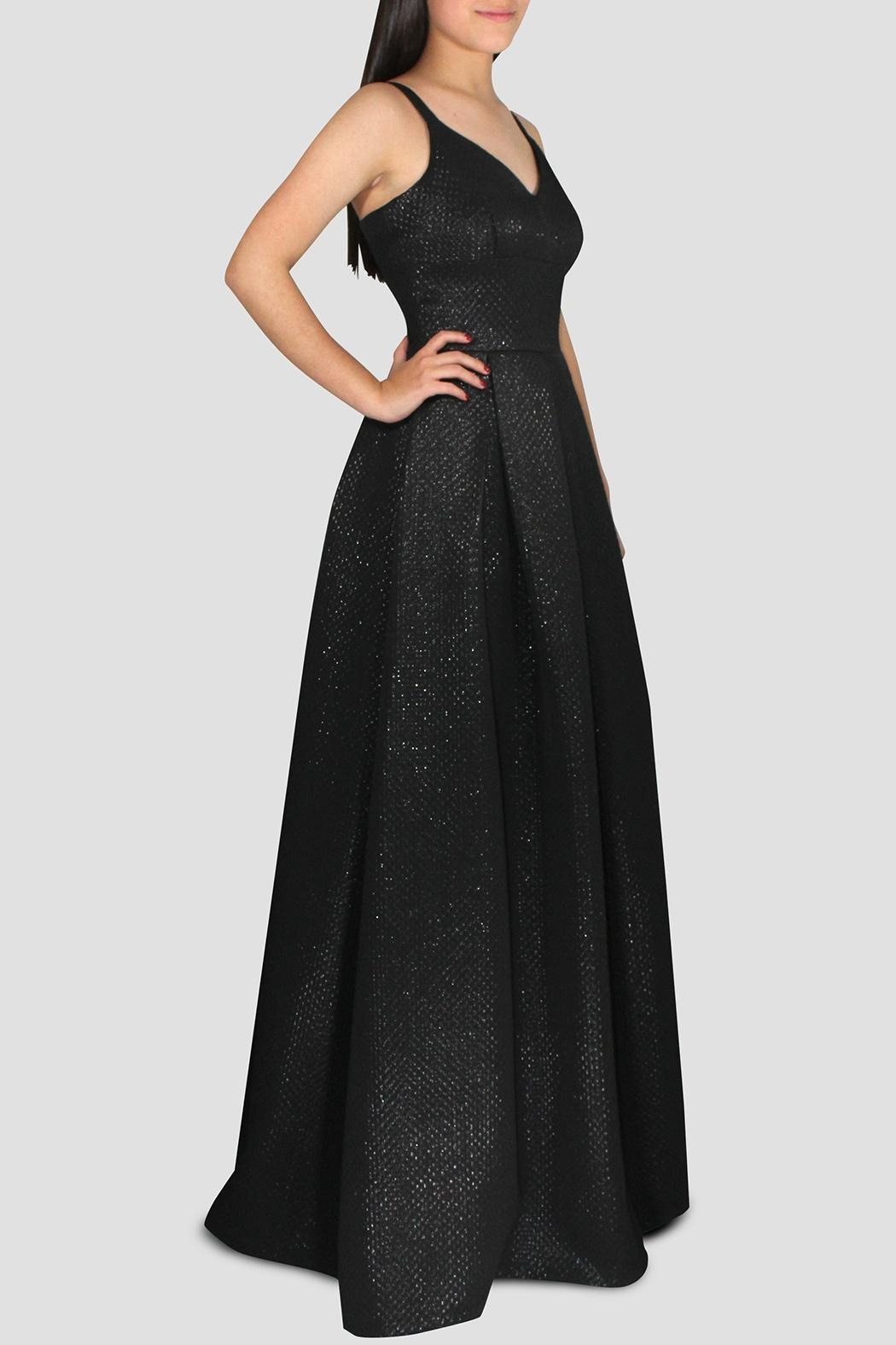 SoZu V-Neck Bell Gown - Front Full Image