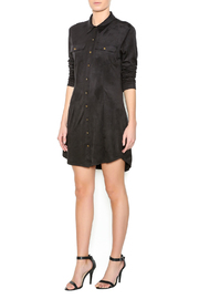 SP Black Suede Shirt Dress - Front full body