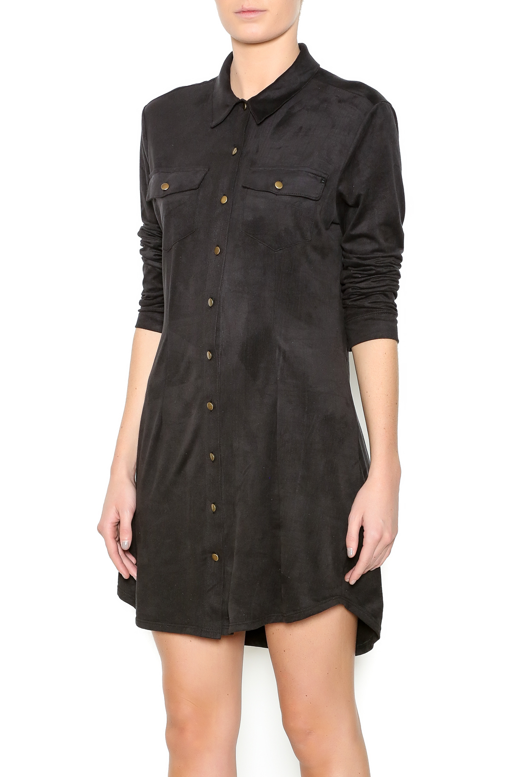 SP Black Suede Shirt Dress - Front Cropped Image