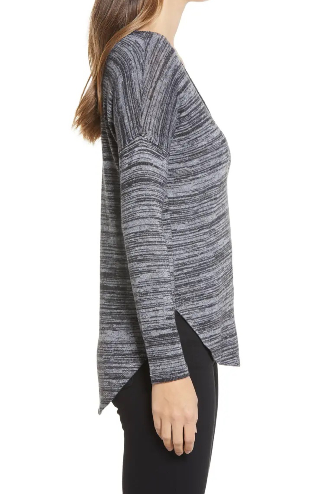 Bobeau Space Dyed Knit Top - Front Full Image