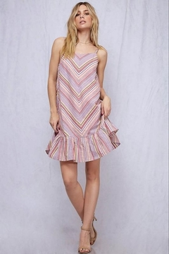 Fantastic Fawn Spaghetti Strap Chevron Stripe Ruffle Hem Dress - Product List Image