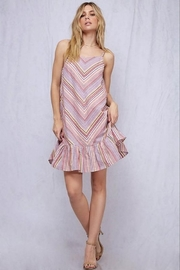 Fantastic Fawn Spaghetti Strap Chevron Stripe Ruffle Hem Dress - Product Mini Image
