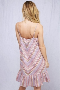 Fantastic Fawn Spaghetti Strap Chevron Stripe Ruffle Hem Dress - Alternate List Image