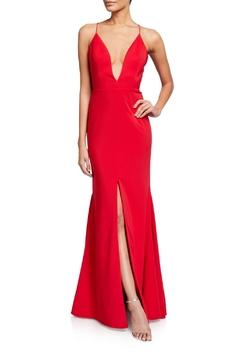 Aidan Mattox Spaghetti Strap Deep V Mermaid Gown - Product List Image