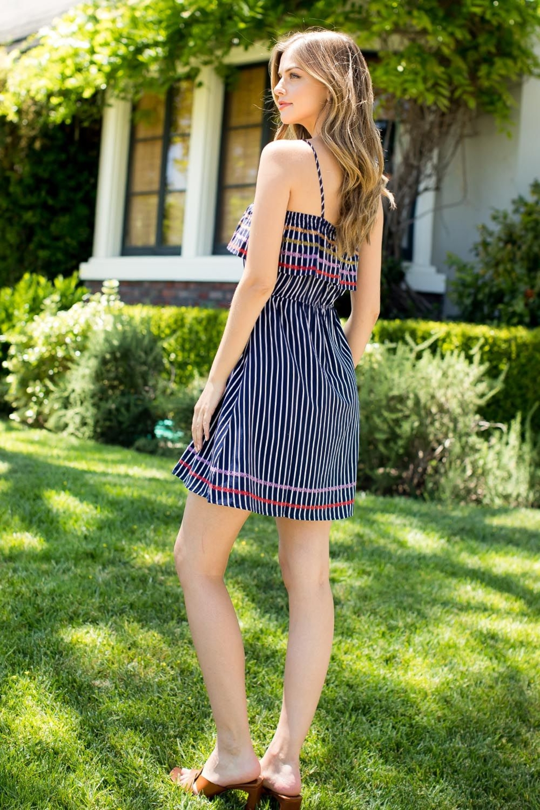 THML Clothing SPAGHETTI STRAP EMBROIDERED DRESS - Front Full Image