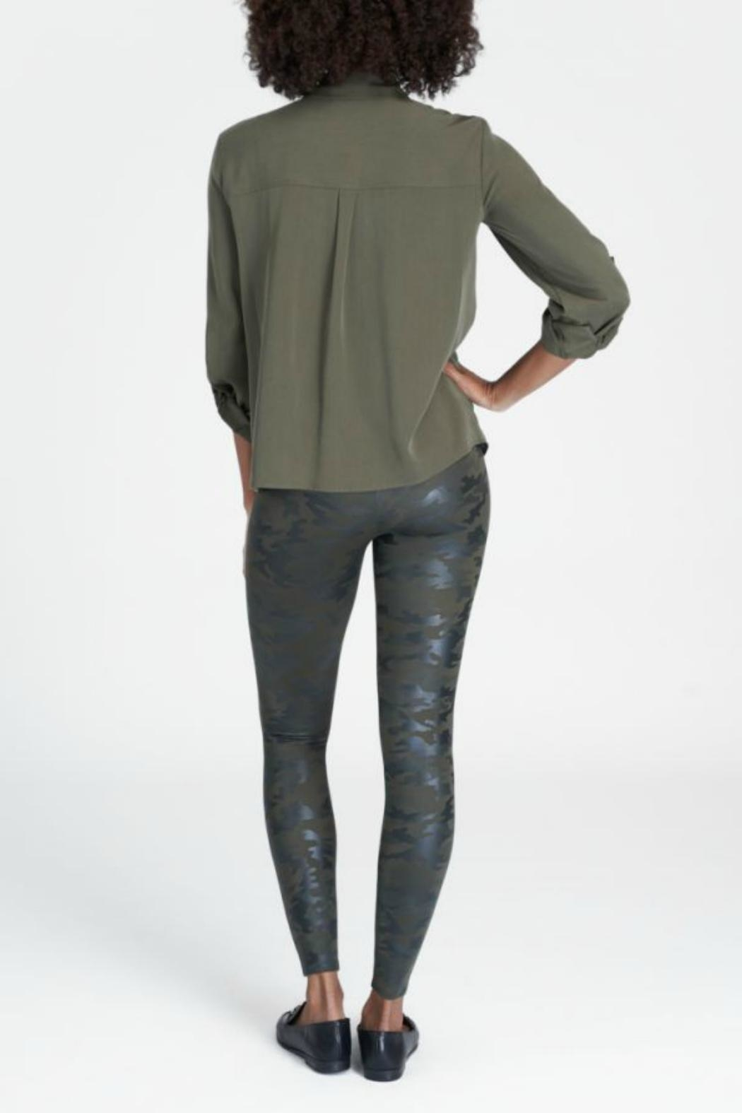 Spanx Faux Leather Camo Leggings - Front Full Image