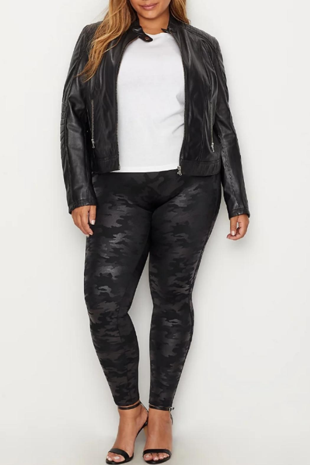 Spanx Plus-Size Faux-Leather Camo-Leggings - Side Cropped Image