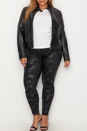 Spanx Plus-Size Faux-Leather Camo-Leggings - Side cropped