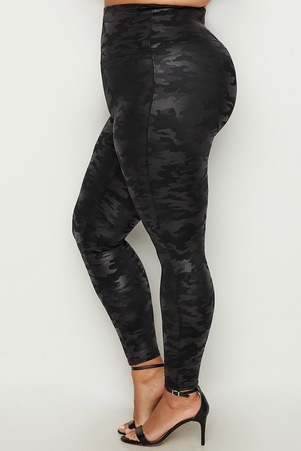 Spanx Plus-Size Faux-Leather Camo-Leggings - Front Full Image