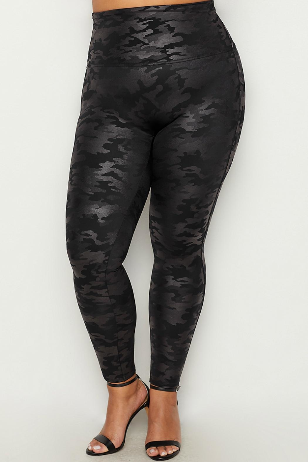 Spanx Plus-Size Faux-Leather Camo-Leggings - Front Cropped Image