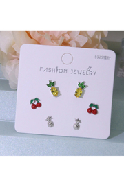 Silver Jewels Sparkily Pineapple & Cherry Silver Stud Earring Set - Product Mini Image