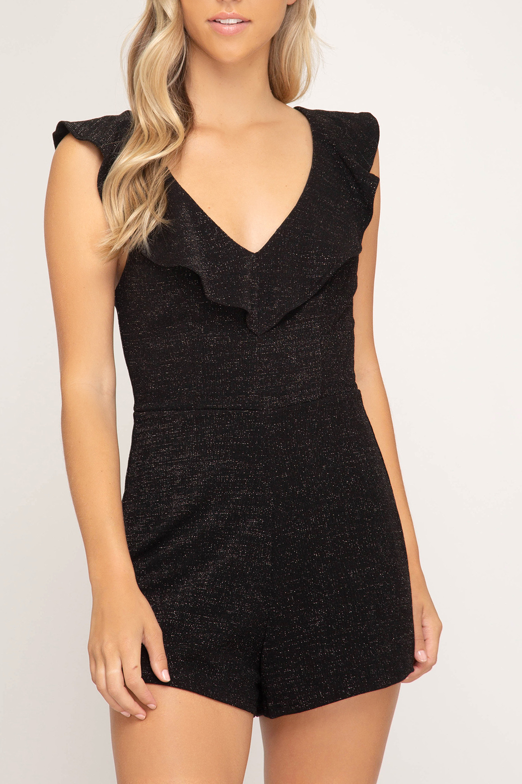 She + Sky Sparkle On romper - Front Cropped Image