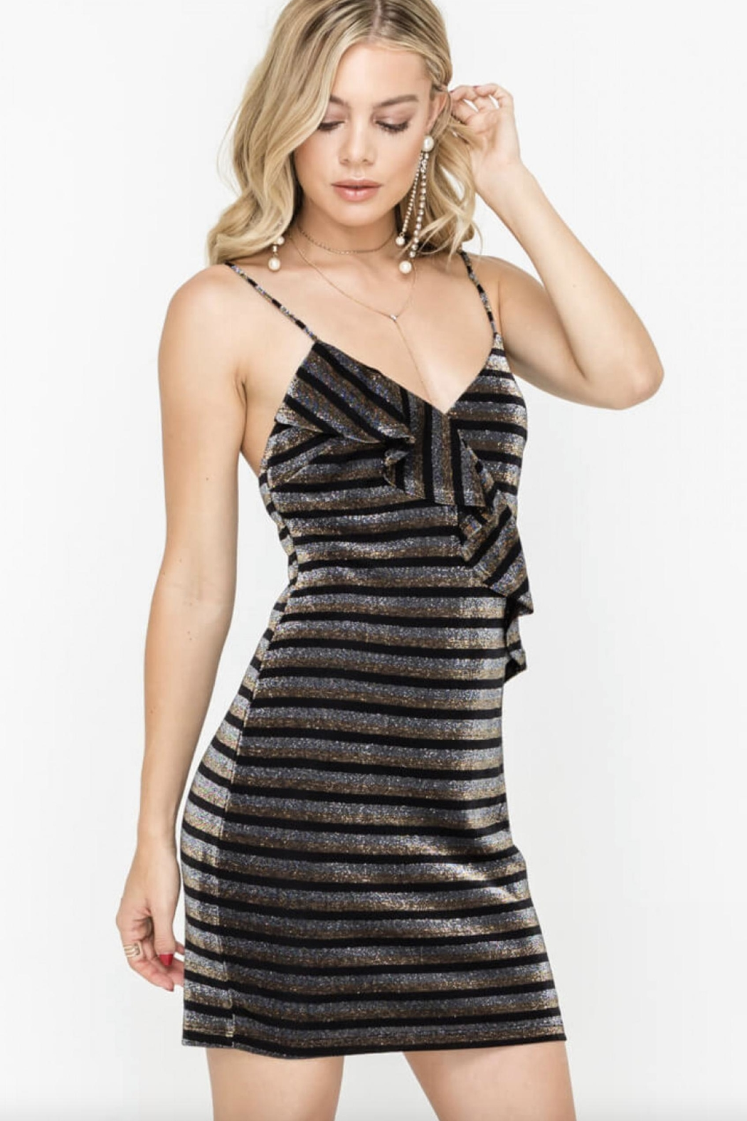 Lush Sparkle Ruffle Dress - Main Image