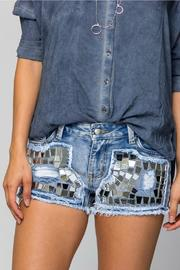 Sparkle Silver Mosaic Shorts - Front full body