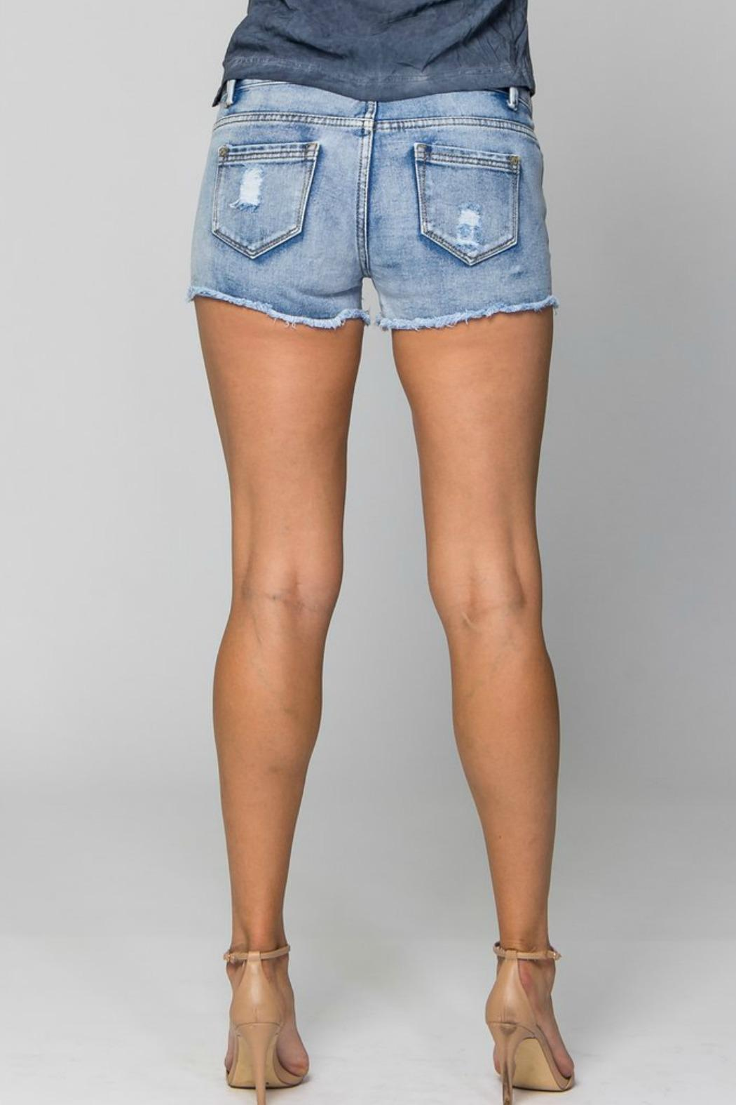 Sparkle Silver Mosaic Shorts - Side Cropped Image