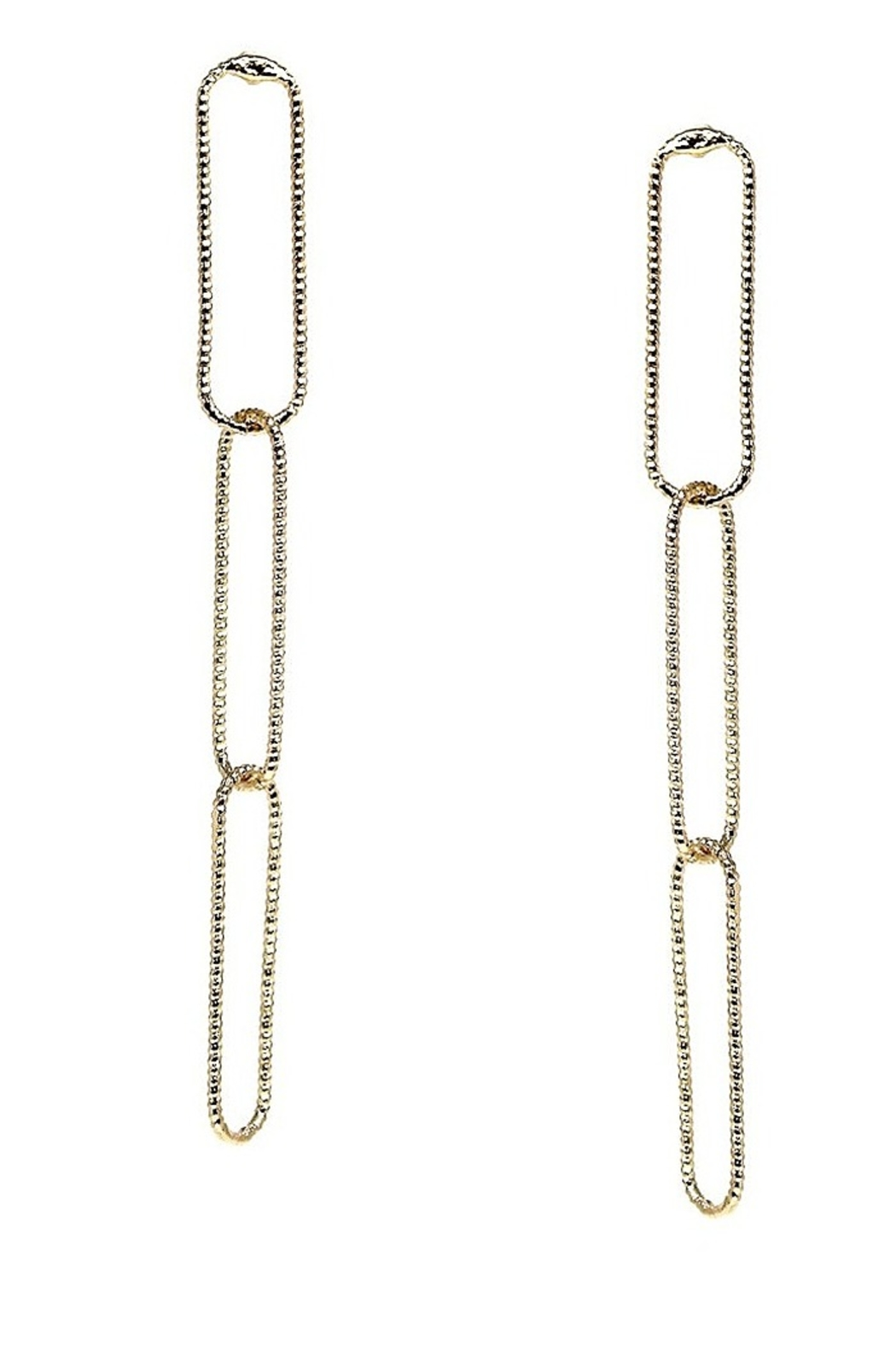 US Jewelry House Sparkle Texture Skinny Hoop Linked Drop Earrings - Main Image