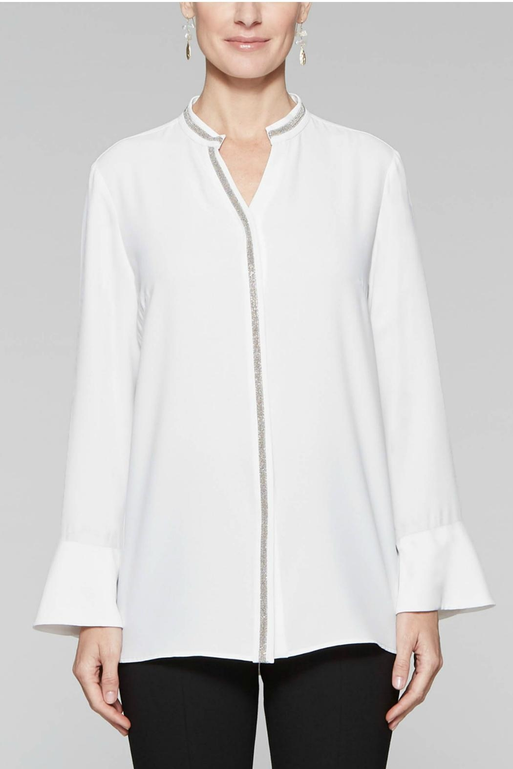 Misook Sparkle Trim Blouse - Front Full Image
