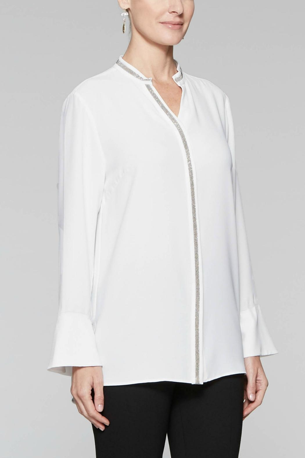 Misook Sparkle Trim Blouse - Side Cropped Image