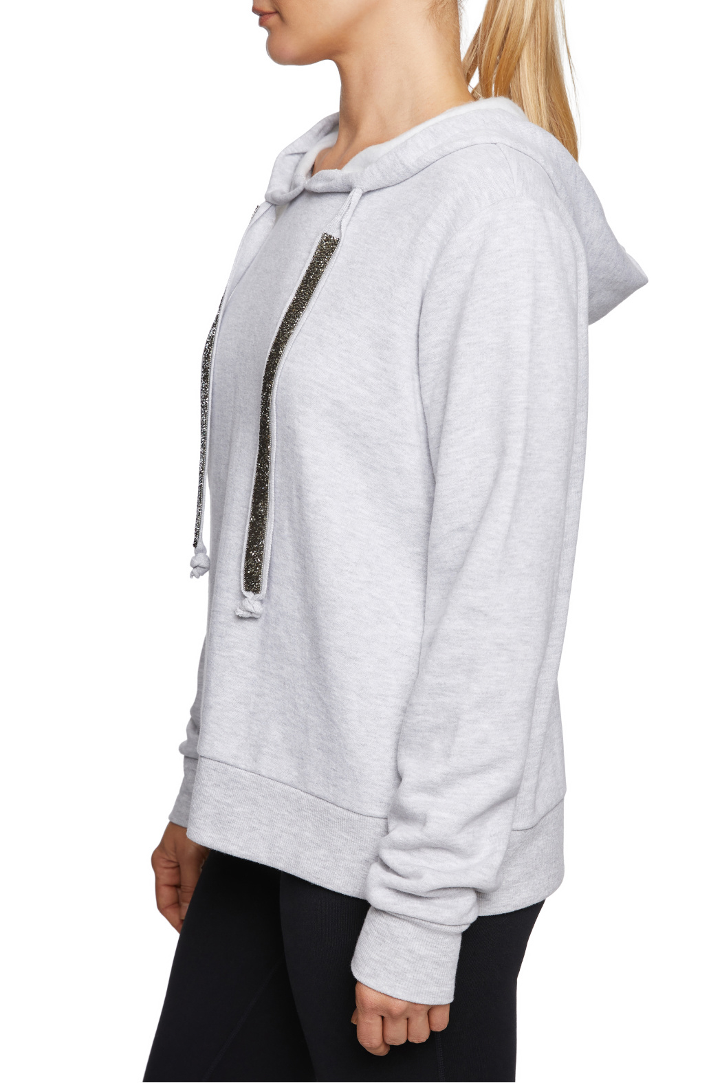 Betsey Johnson Sparkle Trim Hoodie - Front Full Image