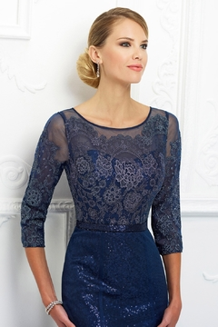 Ivonne D Sparkling Lace A-Line Gown with Sleeves, Navy - Alternate List Image