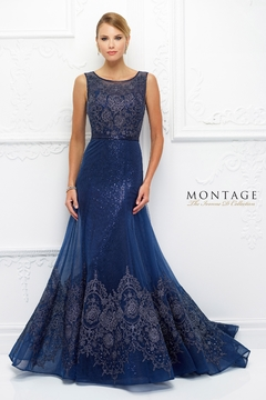 Ivonne D Sparkling Lace A-Line Gown with Sleeves, Navy - Product List Image