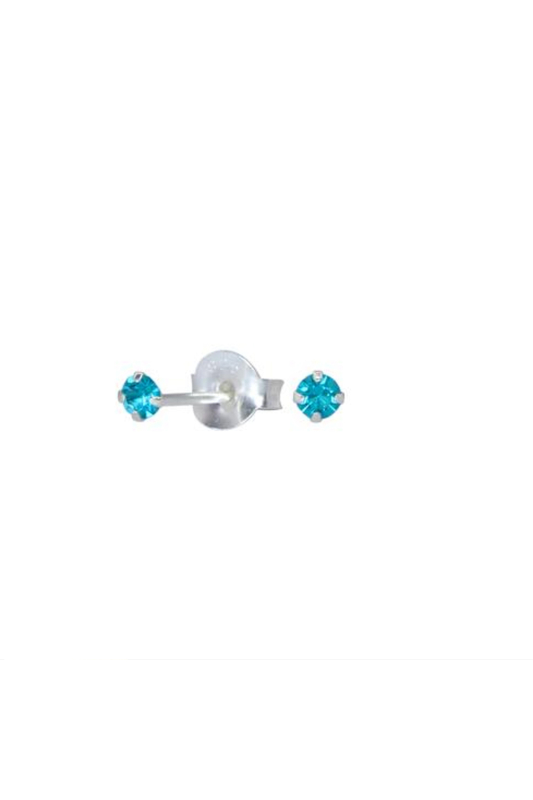 Something Silver Sparkly Birthstone Stud Earrings - Front Cropped Image