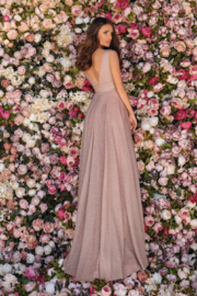 CLARISSE Sparkly Blush Gown - Front full body