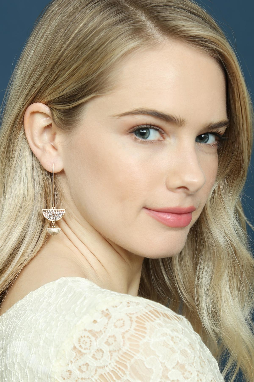 Riah Fashion Sparkly-Stone Drop Earrings - Front Full Image