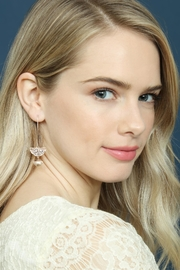 Riah Fashion Sparkly-Stone Drop Earrings - Front full body
