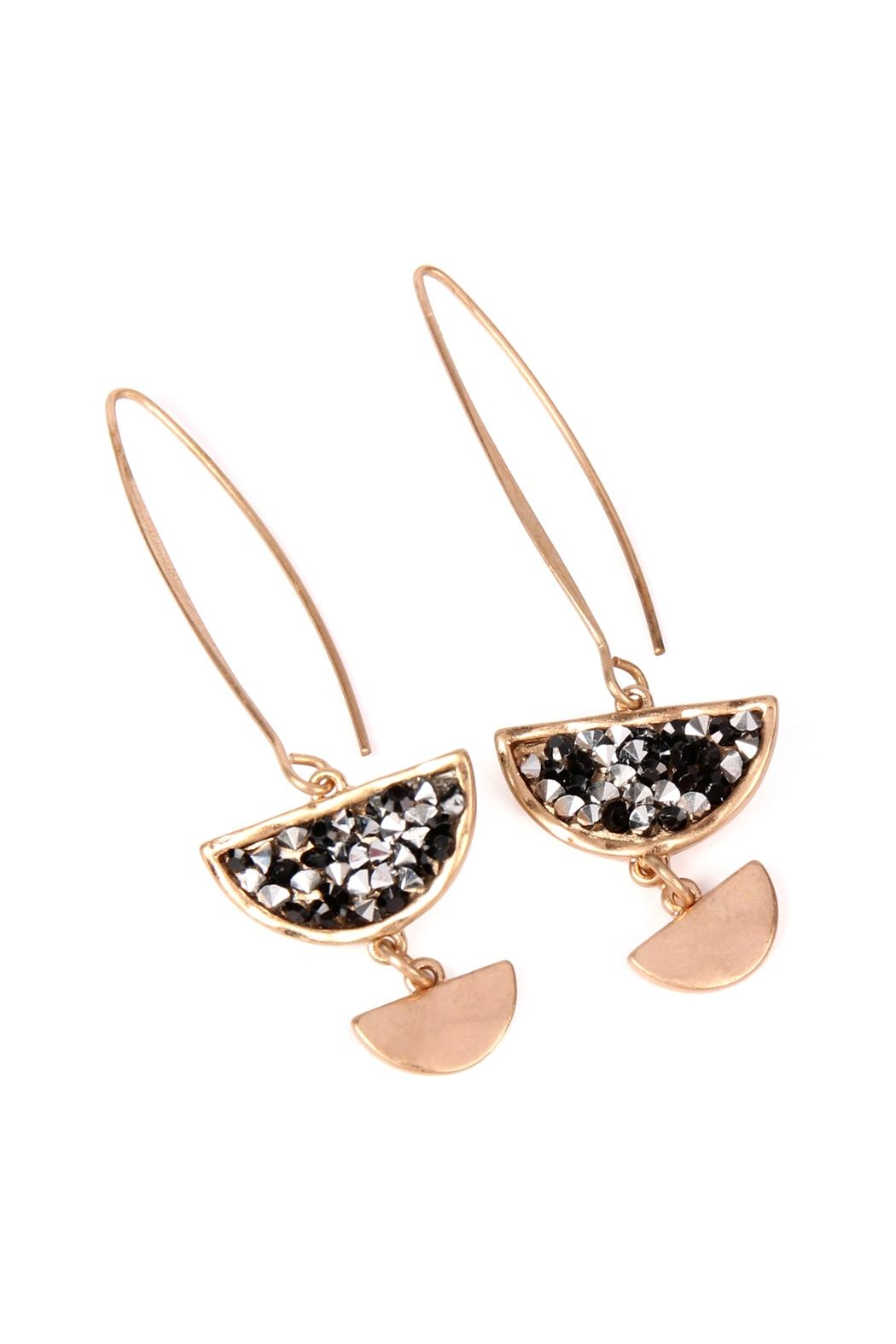 Riah Fashion Sparkly-Stone Drop Earrings - Front Cropped Image