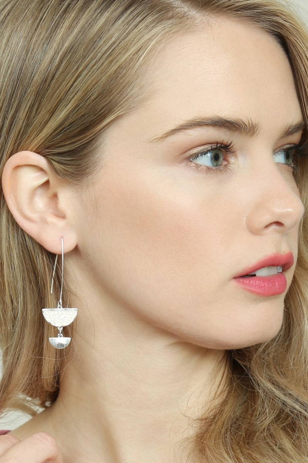Riah Fashion Sparkly-Stone Drop Earrings - Side Cropped Image