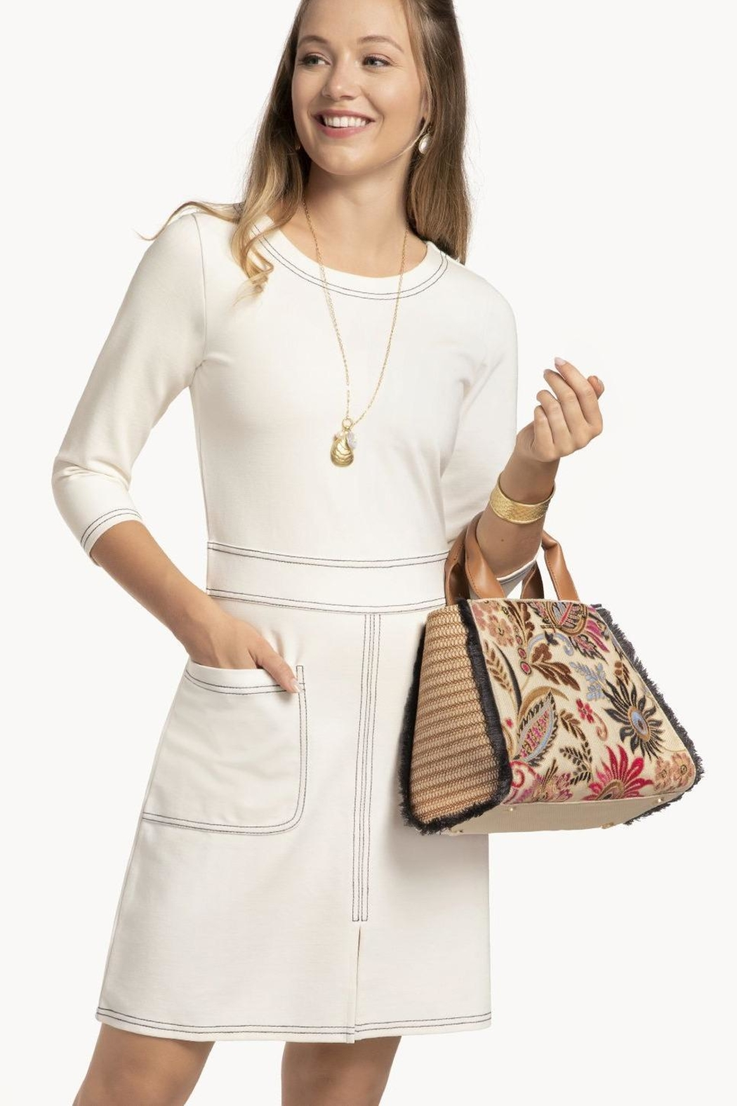 Spartina 449 Barbee Floral Satchel - Back Cropped Image
