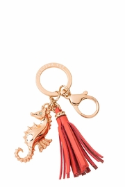Spartina 449 Coral Seahorse Keychain - Front cropped
