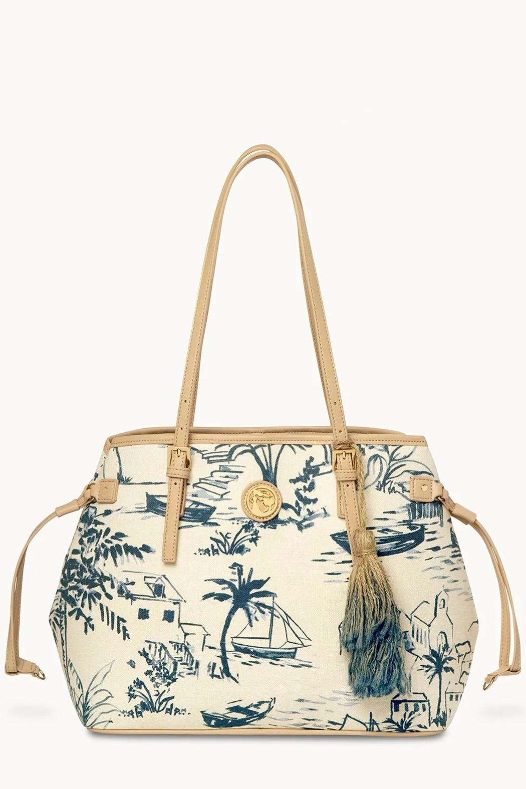 Spartina 449 Daise-Seascape Jetsetter Tote - Front Full Image