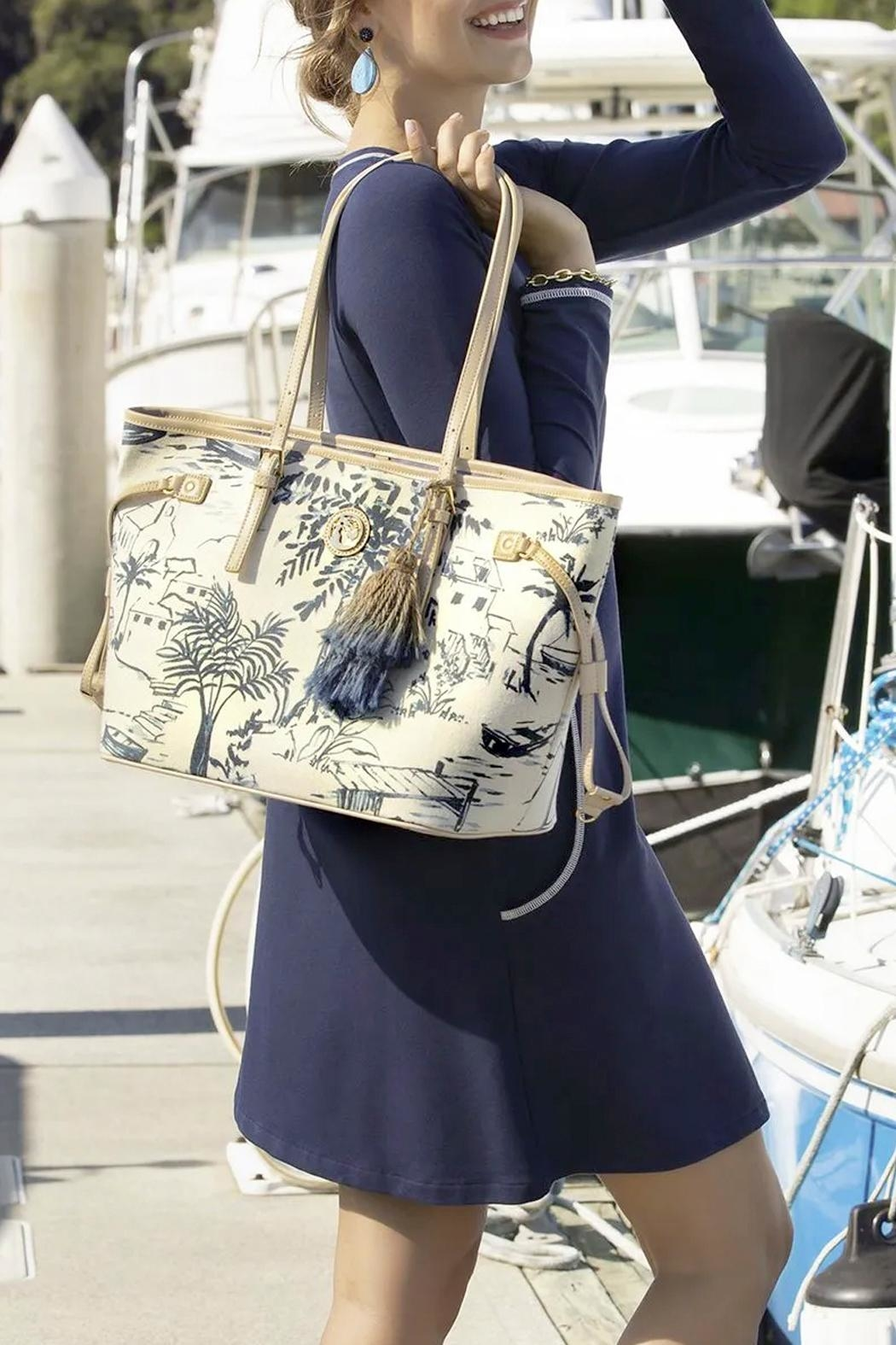 Spartina 449 Daise-Seascape Jetsetter Tote - Back Cropped Image