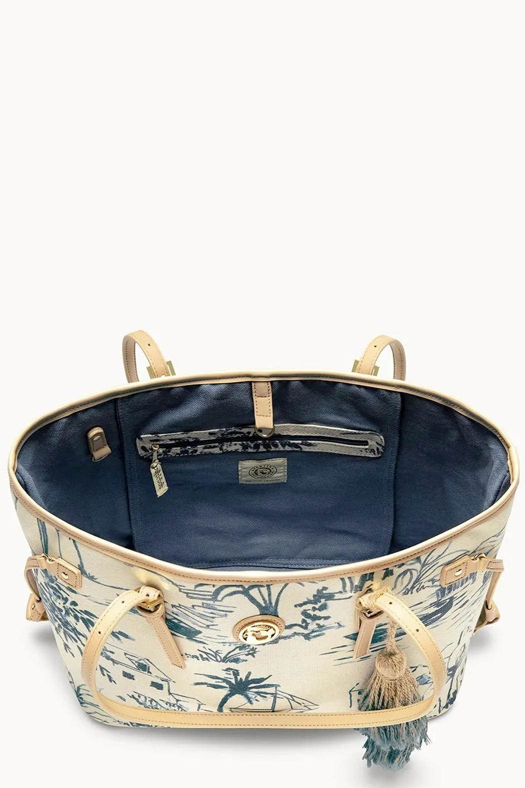 Spartina 449 Daise-Seascape Jetsetter Tote - Side Cropped Image