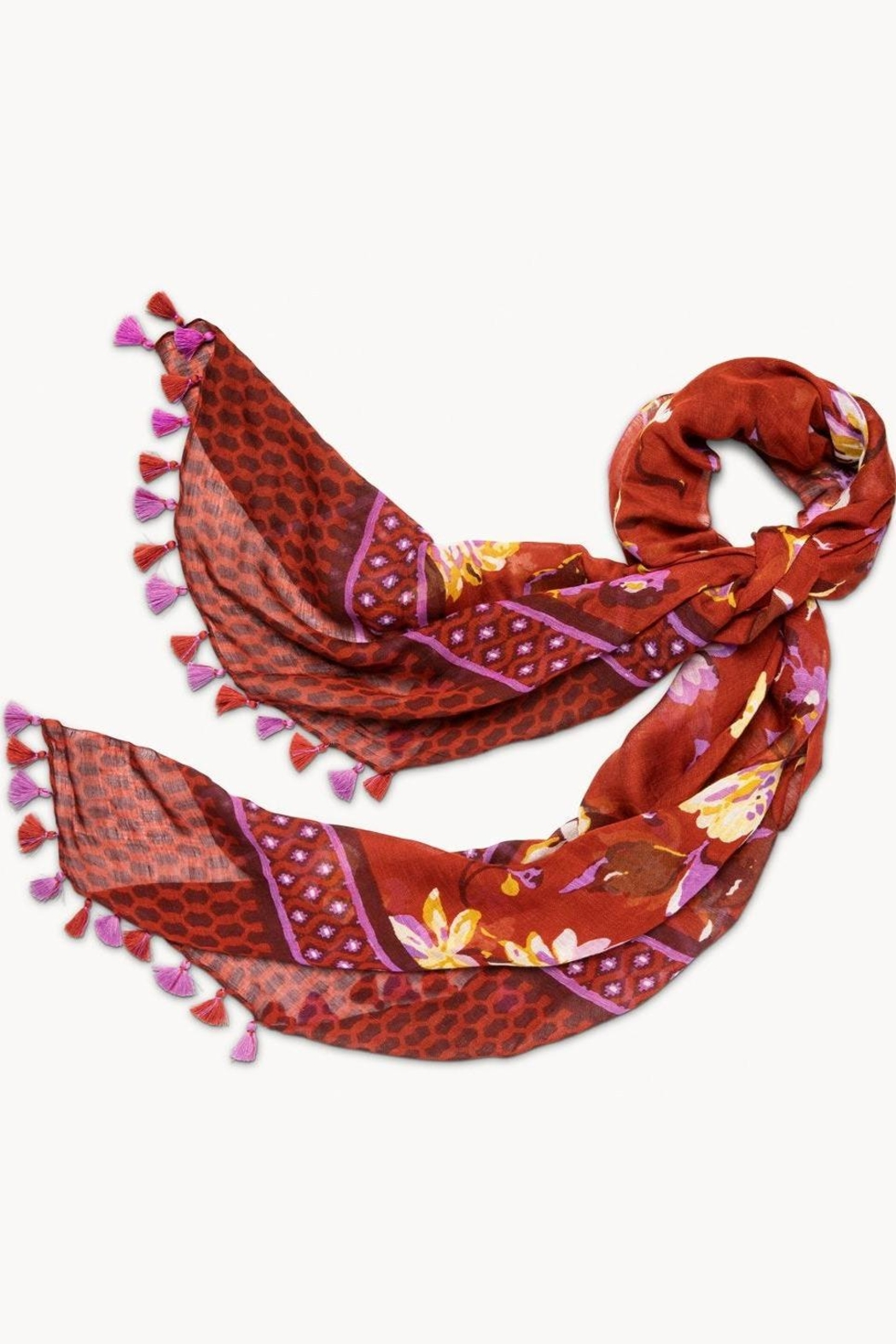 Spartina 449 Painterly Floral Scarf - Front Cropped Image