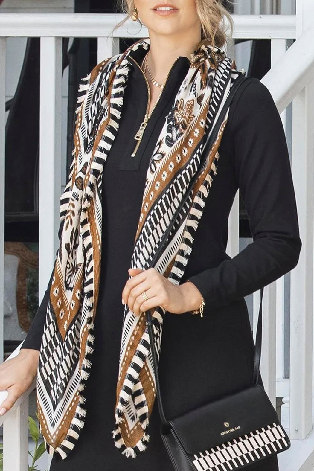 Spartina 449 West Bluff Floral Square Scarf - Back Cropped Image