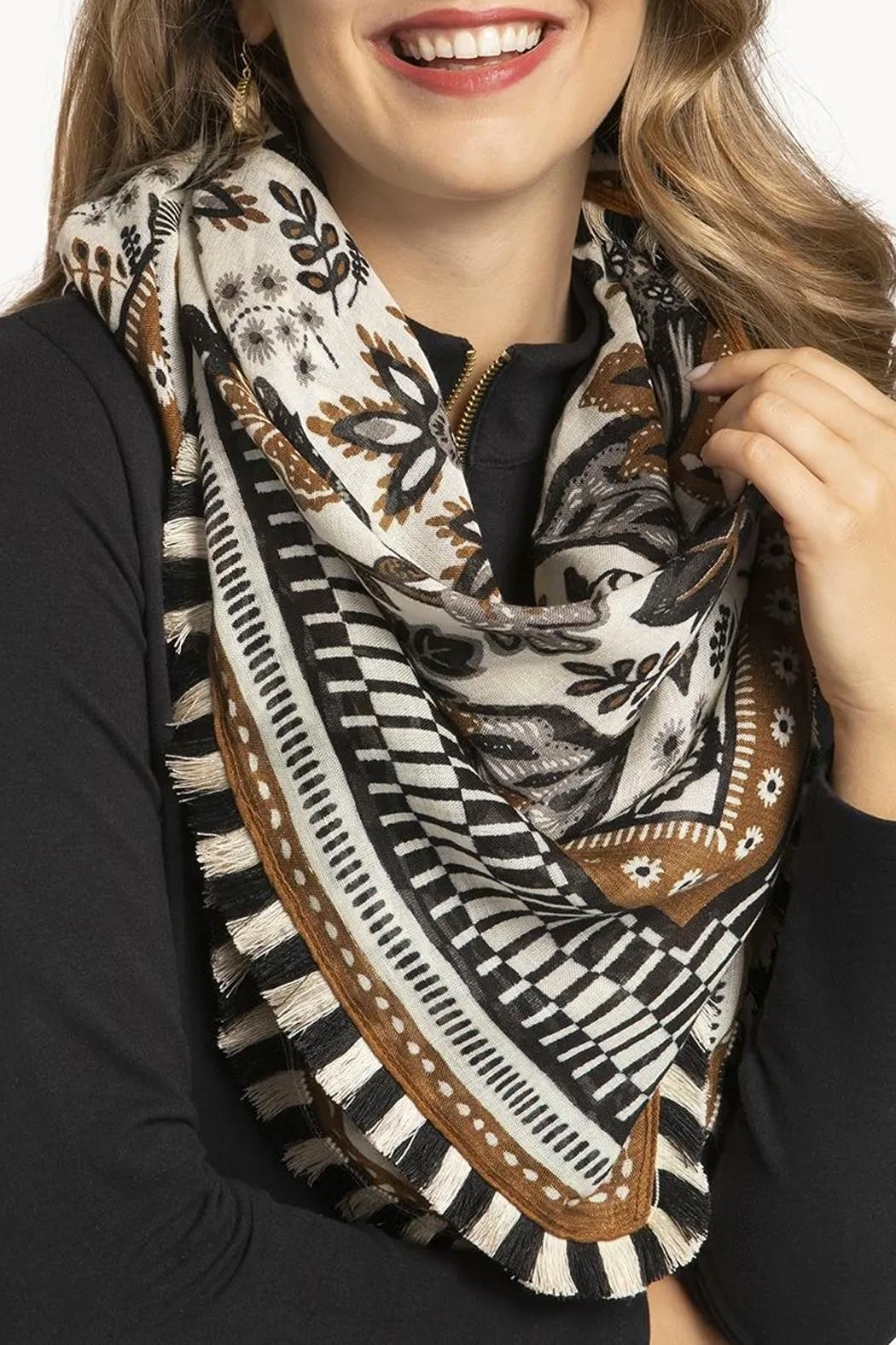 Spartina 449 West Bluff Floral Square Scarf - Side Cropped Image