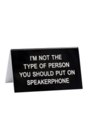 About Face Designs Speaker Phone Sign - Front cropped