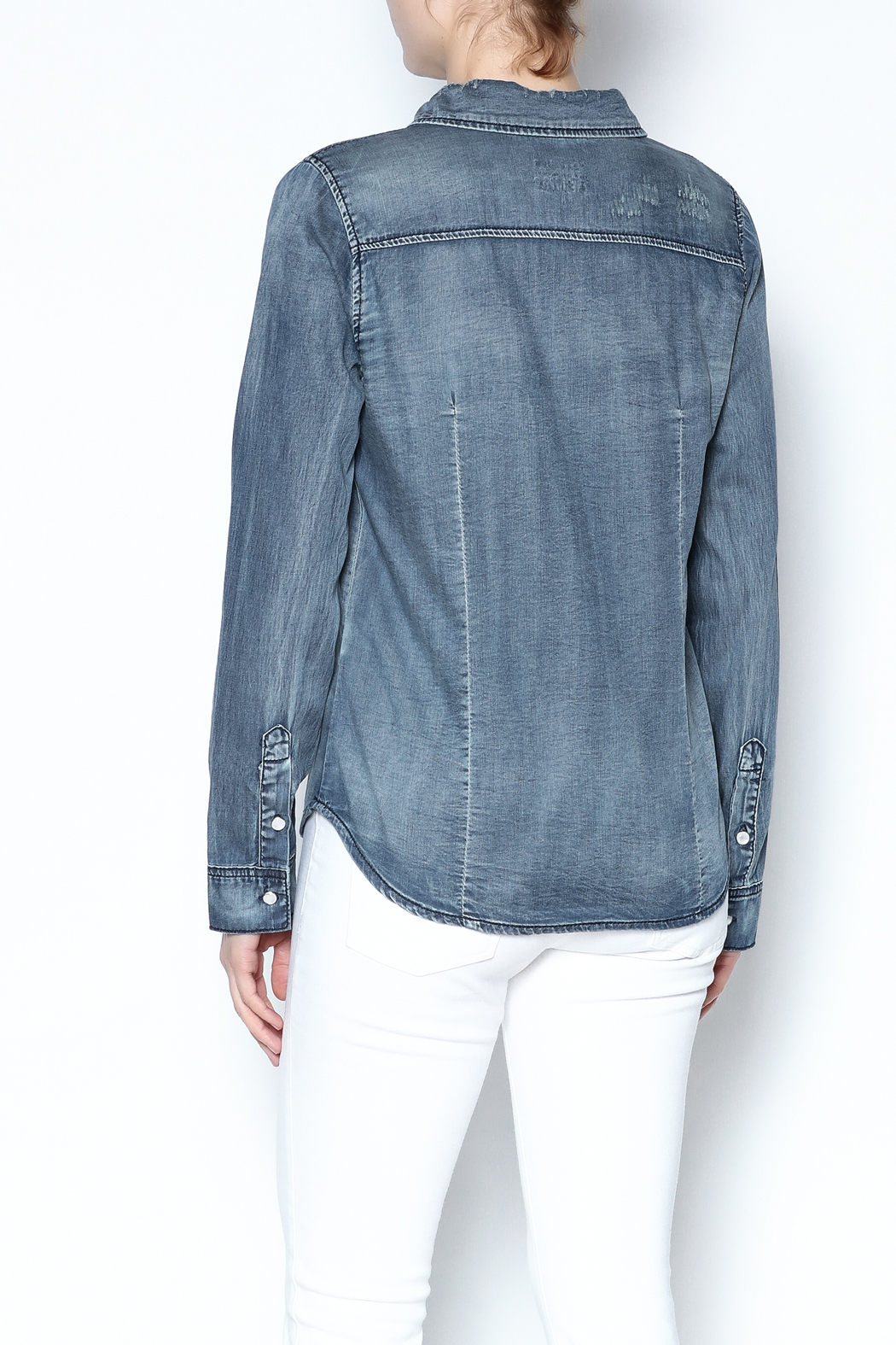 Special A Button Denim Shirt - Back Cropped Image