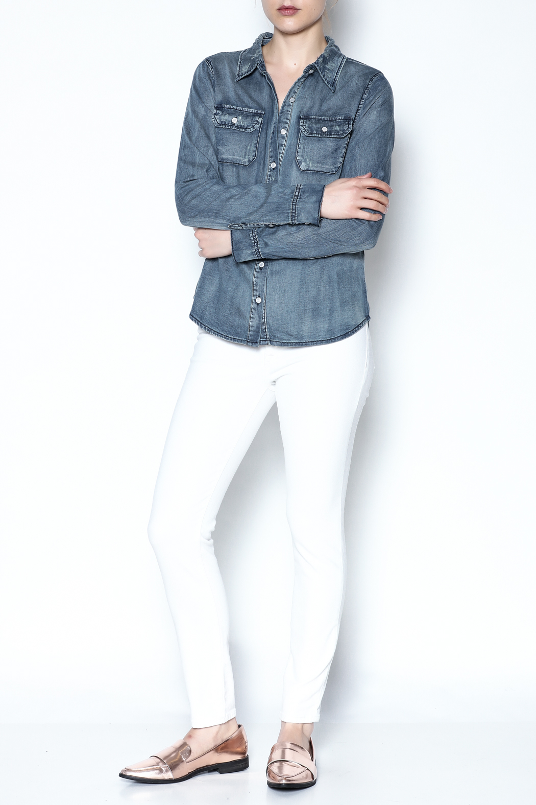 Special A Button Denim Shirt - Front Full Image