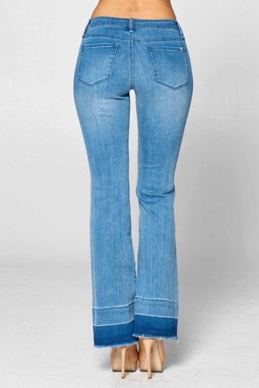 Special A Jeans Special A Contrast Bottom Hem boot cut jean - Front Full Image