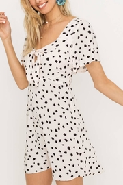 Lush Clothing  Speckled Front-Tie Mini-Dress - Front full body