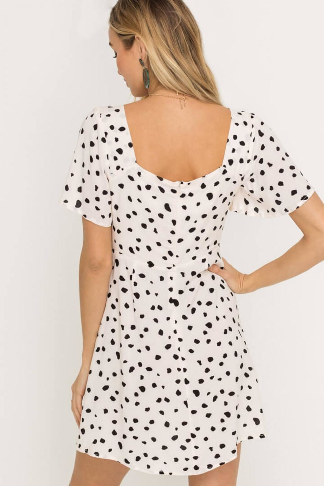 Lush Clothing  Speckled Front-Tie Mini-Dress - Side Cropped Image