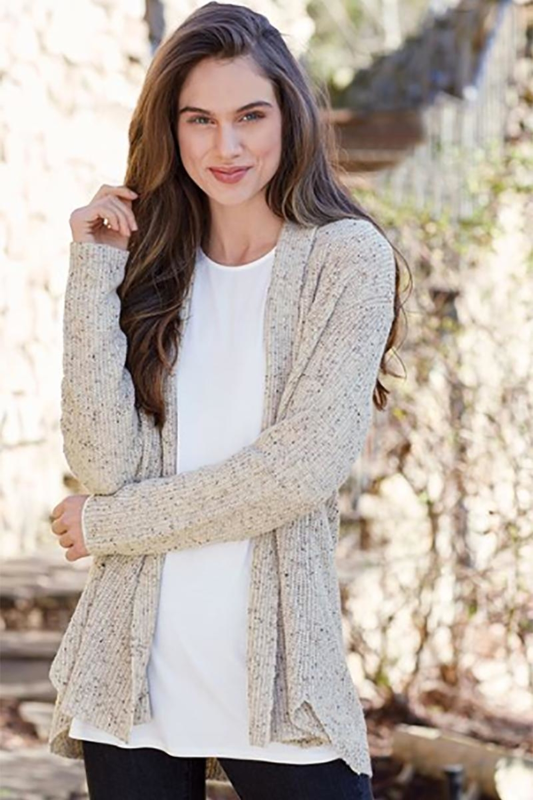 Mud Pie Speckled Knit Cardigan - Front Full Image
