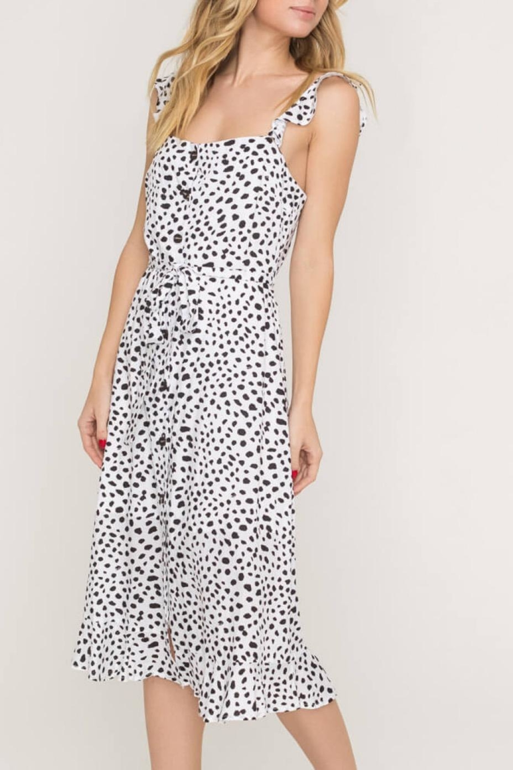 Lush Clothing  Speckled Midi Dress - Front Full Image