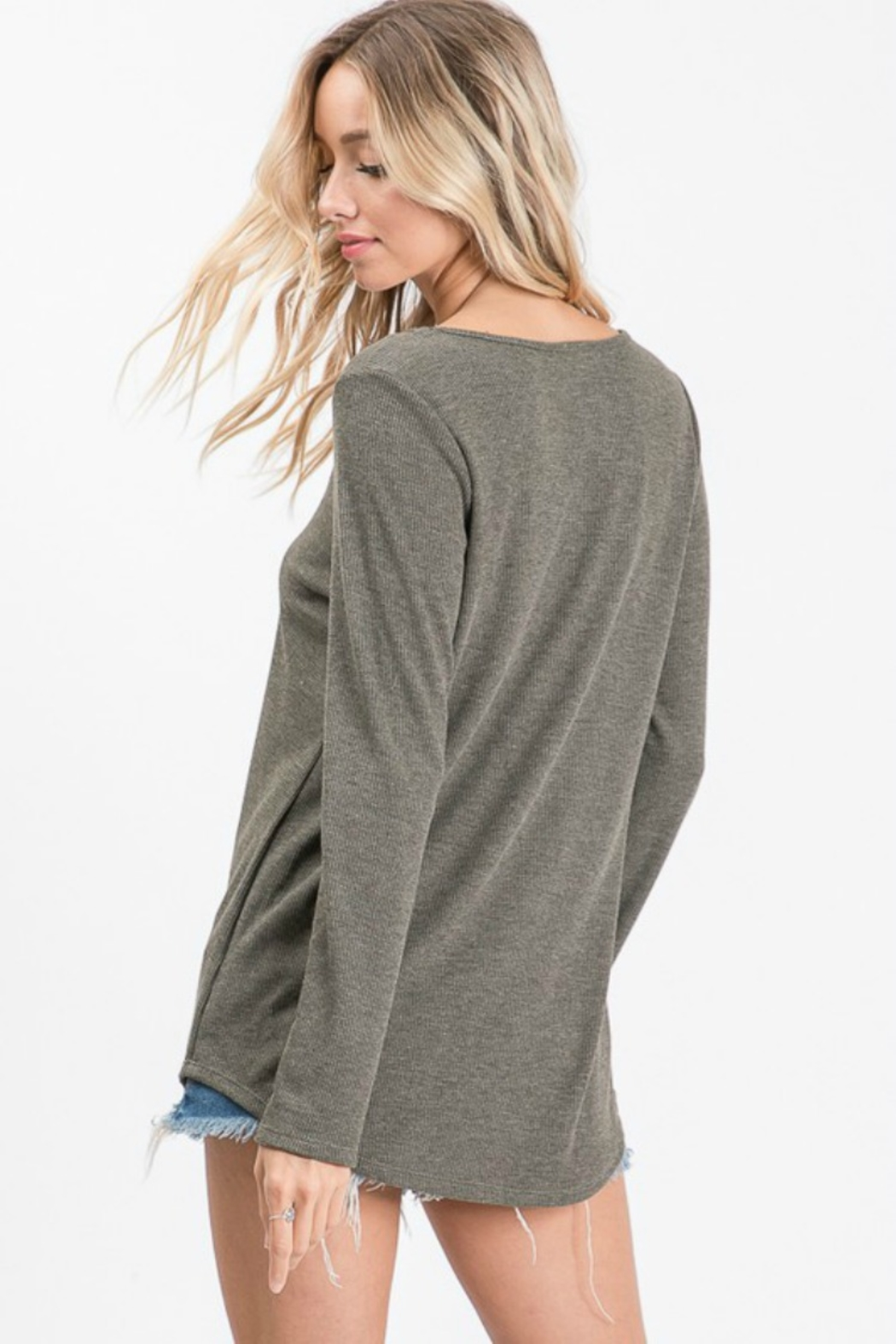 Apple B SPIDER CAGE FRONT LONG SLEEVE TOP - Side Cropped Image