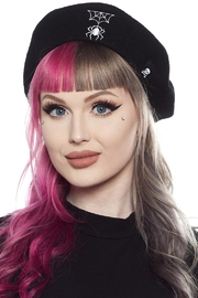 Sourpuss Spider & Web Beret - Front cropped