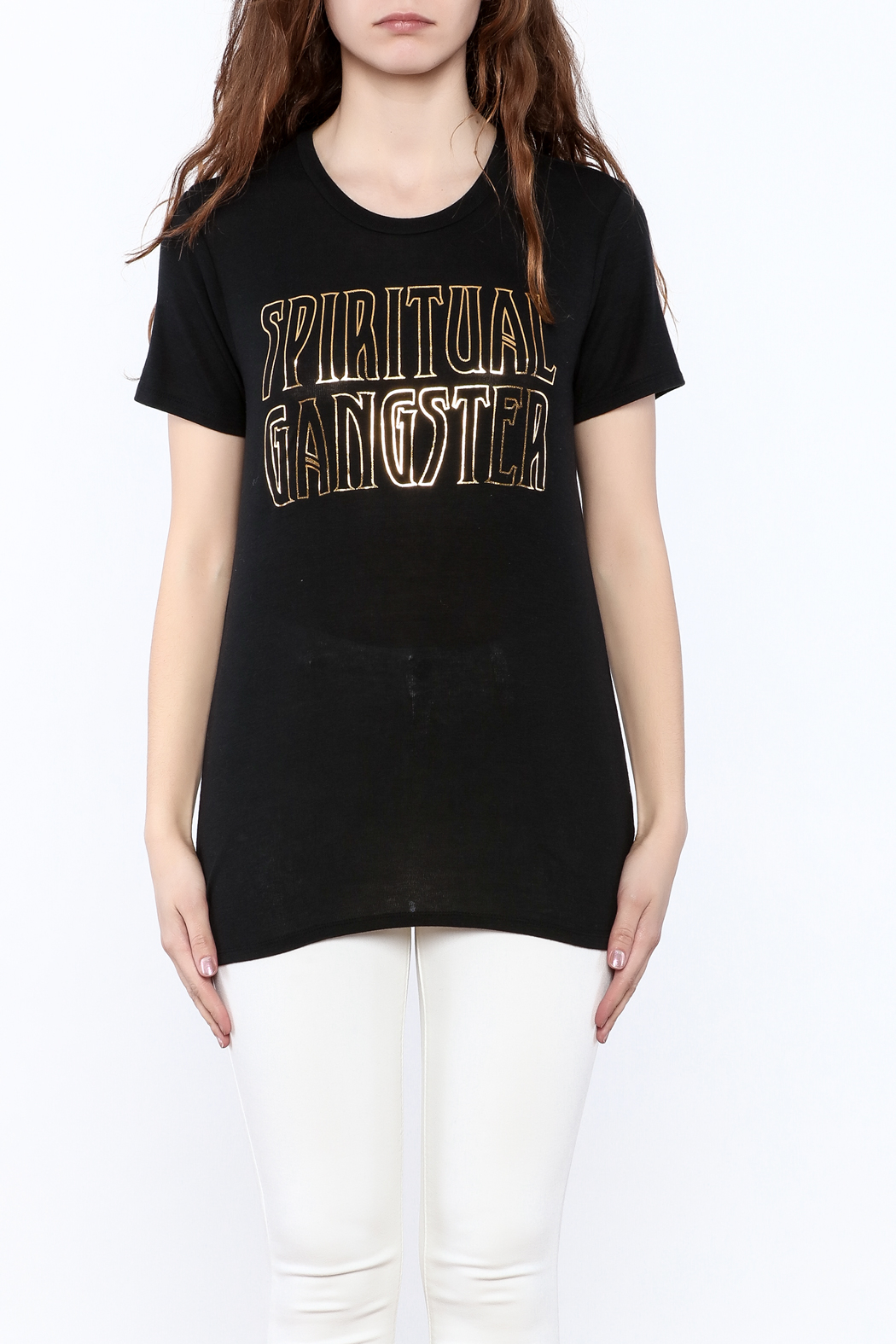 SPIRITUAL GANGSTER Black Graphic Tee - Side Cropped Image